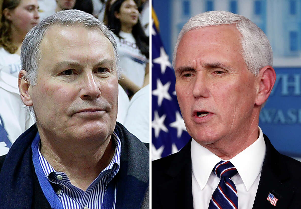 FILE - From left are American Athletic Conference Commissioner Mike Aresco, in a 2017 file photo and Vice President Mike Pence in a 2020 file photo. The commissioners of the major college football conferences held a 30-minute conference call Wednesday, April 15, 2020, with Vice President Mike Pence and stressed to him that college sports could not return from the coronavirus shutdown until college campuses have re-opened. a€œWe were able to talk about the differences between us and professional sports,a€ American Athletic Conference Commissioner Mike Aresco said. (AP Photo/File)