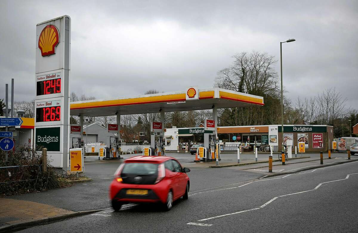 A Shell petrol station is pictured in Farnborough, 40 miles southwest of London.