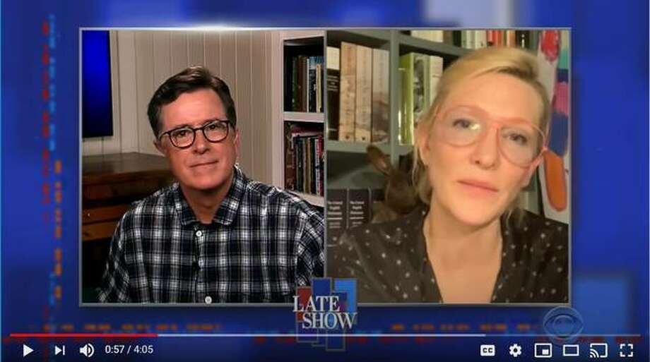 Screenshot of Cate Blanchette on The Late Show with Stephen Colbert (Home Edition).