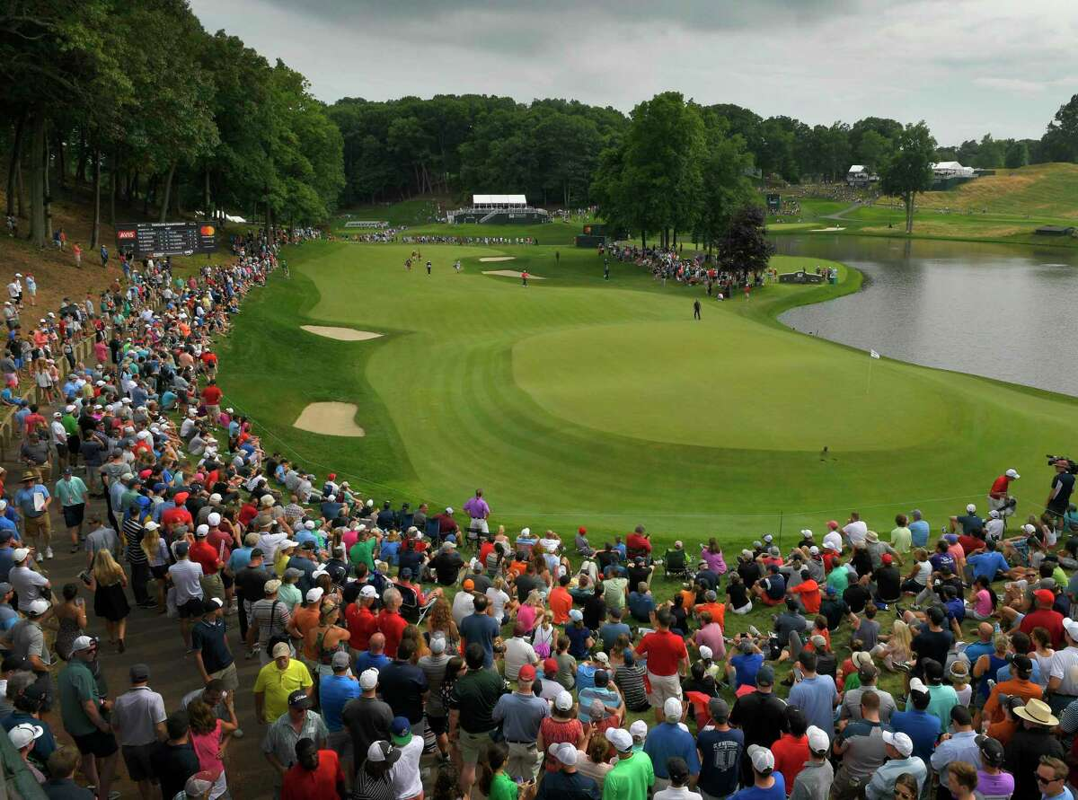 A view of the 15th hole during the final round of the 2018 Travelers Championship at TPC River Highlands in Cromwell.