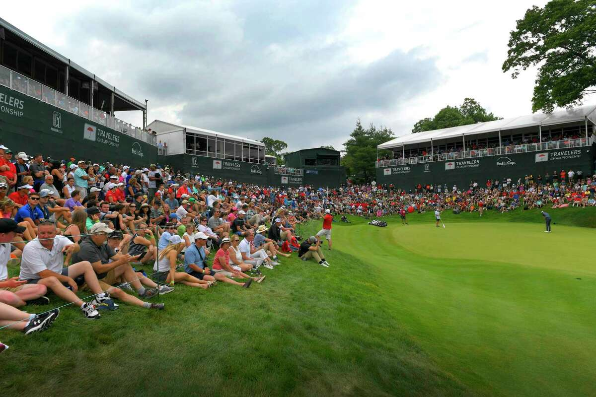 A scenic view of the 18th hole during the final round of the Travelers Championship at TPC River Highlands in Cromwell in 2018.