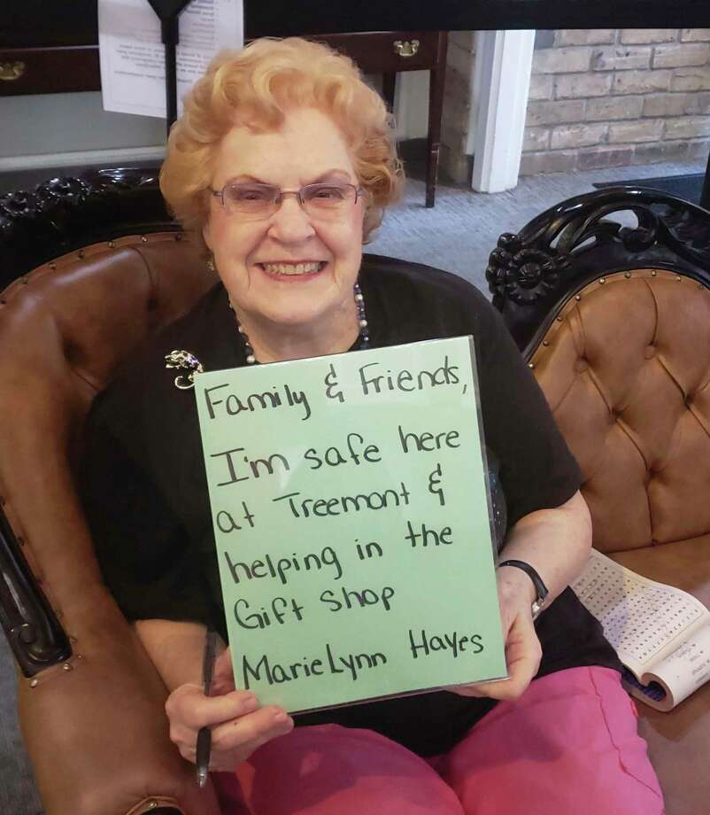 Treemont Retirement Community is encouraging residents, such as Marie Lynn Hayes, to write a message to their loved ones to let them know how they are doing and stay connected at this time.