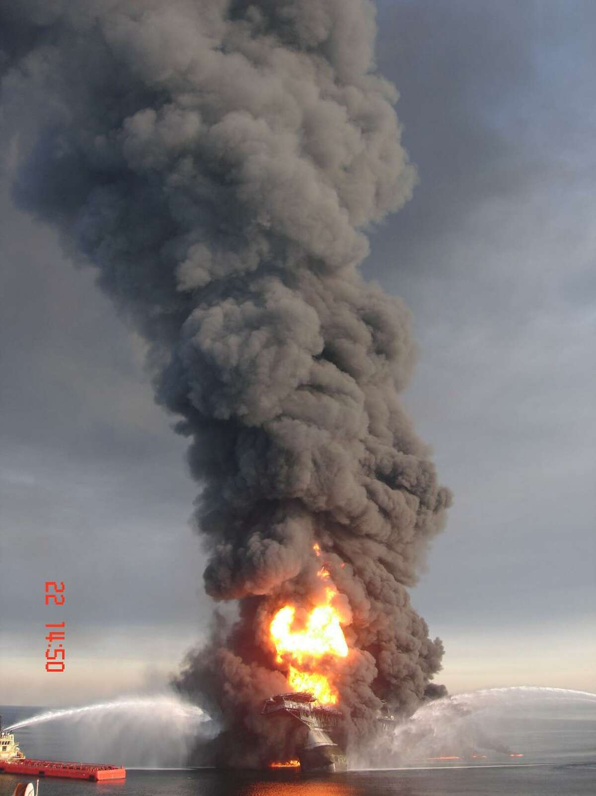The Deepwater Horizon drilling rig is seen in a photo obtained from an anonymous source via WDSU in New Orleans.