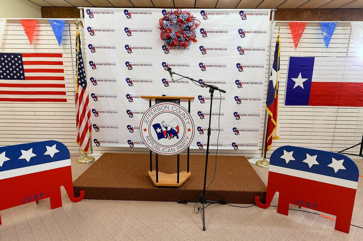 Republican stage decorations at the Jefferson County Republican Party's election party in Port Neches on Tuesday. Photo taken Tuesday 11/6/18 Ryan Pelham/The Enterprise