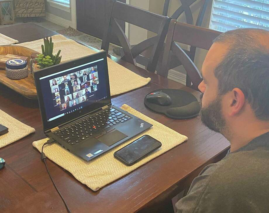 Katy Independent School District and Amazon are partnering to provide $200 to teachers for those items they want for their classroom but have not been provided through campus budgets. Here, agriculture teacher David Laird addresses class using Zoom in spring 2020. Photo: Courtesy Photo