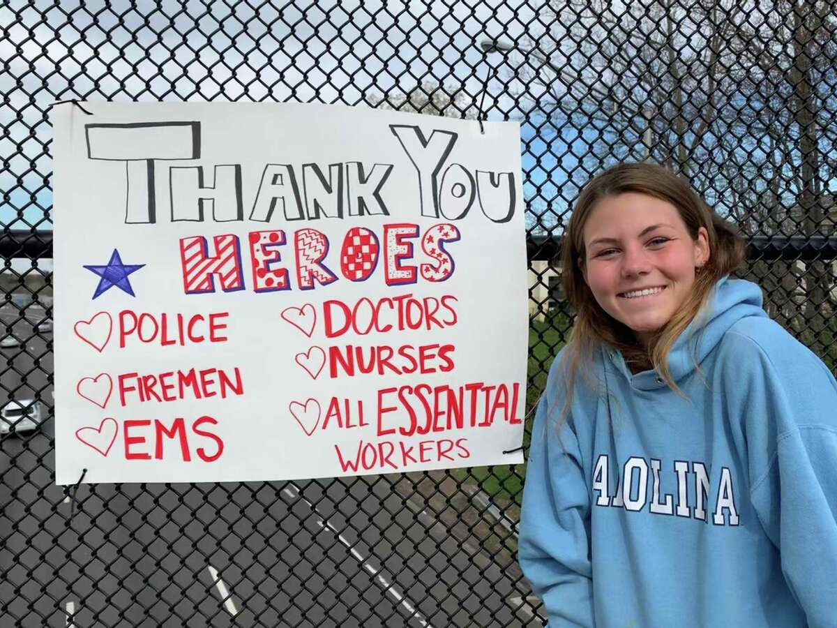 In April, Sophie Pullen was one of the members of The Depot's Girls Night Out club who helped to create and place thank-you posters around town for Darien's medical staff and first responders.