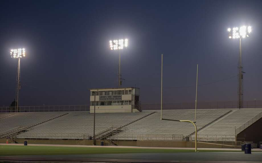 """The lights shine bright at James """"Doc"""" Dodson Midland Memorial Stadium on the night of April 15 and other nights as a tribute to area senior athletes who can't participate in their sports during the coronavirus suspension of games and training. Tim Fischer/Reporter-Telegram Photo: Tim Fischer/Midland Reporter-Telegram"""