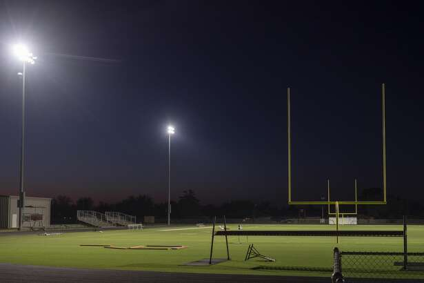 The lights shine bright at the Lee High School practice field on the night of April 15 and other nights as a tribute to area senior athletes who can't participate in their sports during the coronavirus suspension of games and training. Tim Fischer/Reporter-Telegram