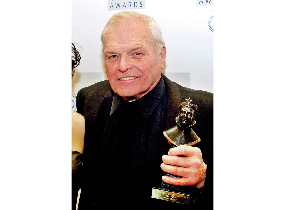 FILE - This Feb. 26, 2006 file photo shows actor Brian Dennehy with his best actor Olivier Award for his role in