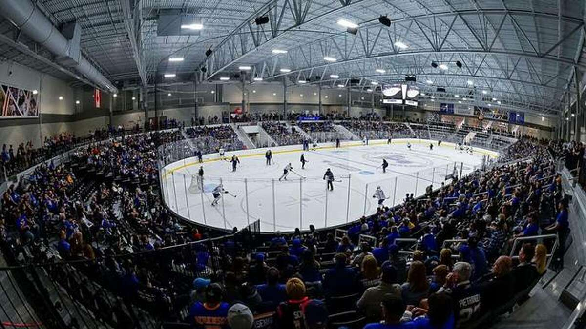 A large crowd gathers to watch a Blues preseason workout at the Centene Community Ice Center. The center will serve as the host site for the 2022 ACHA Championships.