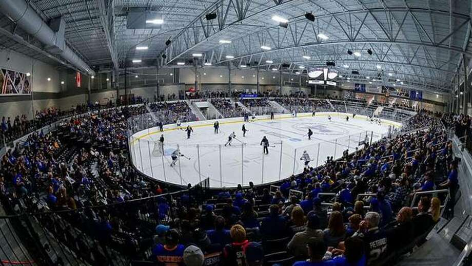 A large crowd gathers to watch a Blues preseason workout at the Centene Community Ice Center. The center will serve as the host site for the 2022 ACHA Championships. Photo: NHL