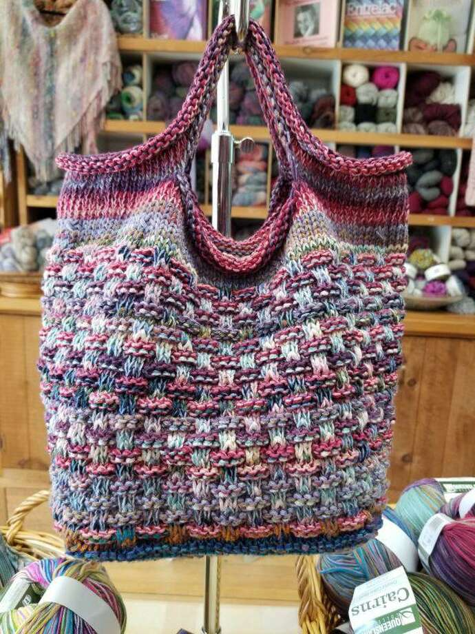 The Market Square bag by Sharon Anhalt was one of the shop's most popular projects last year. It is a great design, in an easy to knit slip stitch pattern. Photo: Ginger Balch / Contributed Photo