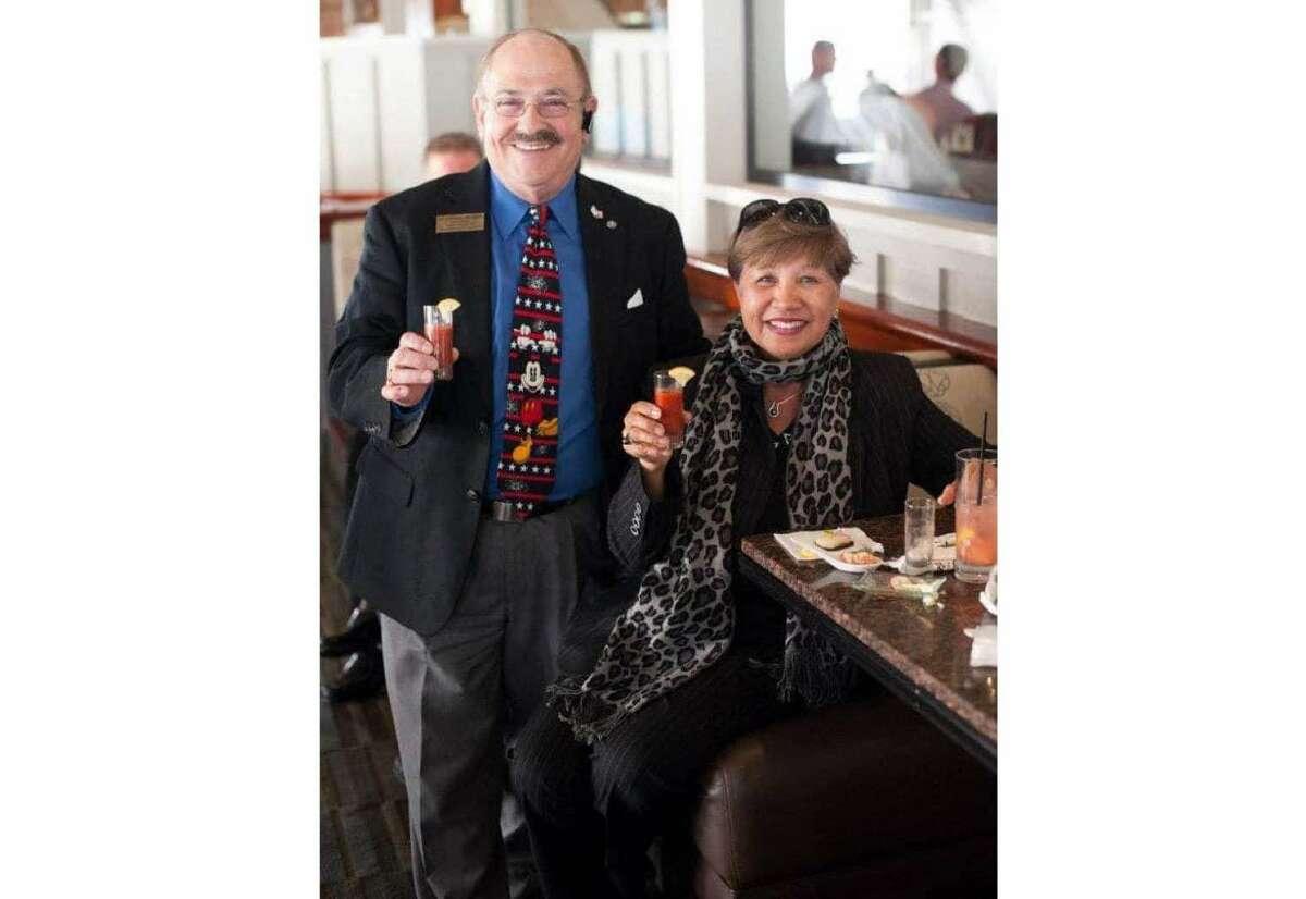 Marshall Mitzman (left) and wife Felie Ulep-Mitzman, in 2012 at Skates Restaurant on the Bay in Berkeley.