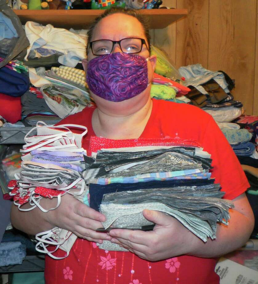 Linda Marshall (pictured) and her sister have made more than 300 face masks to help with the shortages. The masks are free to anyone who requests them. (Submitted photo)