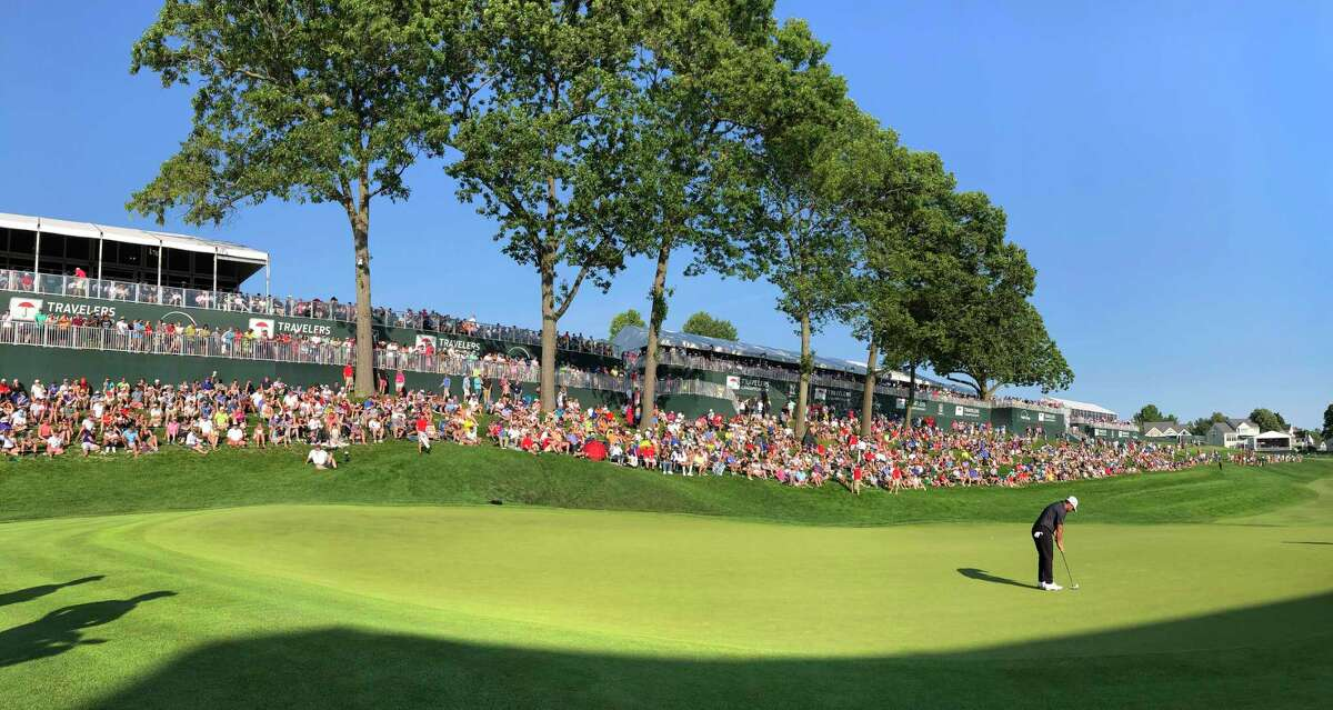 CROMWELL, CT - JUNE 23: A course scenic view of the 18th hole during the final round of the Travelers Championship at TPC River Highlands on June 23, 2019 in Cromwell, Connecticut. (Photo by Stan Badz/PGA TOUR via Getty Images)