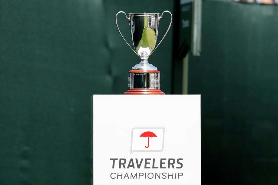 CROMWELL, CT - JUNE 23: The Travelers Championship trophy on display at the first tee during the Final Round of the Travelers Championship on June 23, 2019 at TPC River Highlands in Cromwell, Connecticut. (Photo by Fred Kfoury III/Icon Sportswire via Getty Images) Photo: Icon Sportswire / Icon Sportswire Via Getty Images / ©Icon Sportswire (A Division of XML Team Solutions) All Rights Reserved ©Icon Sportswire (A Division of XML Team Solutions) All