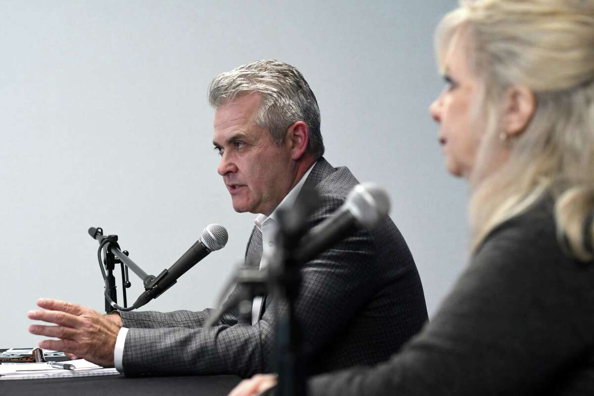 Rensselaer County Executive Steve McLaughlin, left, and Public Health Director Mary Fran Wachunas, right, deliver an update on the county's ongoing coronavirus response on Thursday, April 16, 2020, at the Rensselaer County Office Building in Troy, N.Y. (Will Waldron/Times Union)