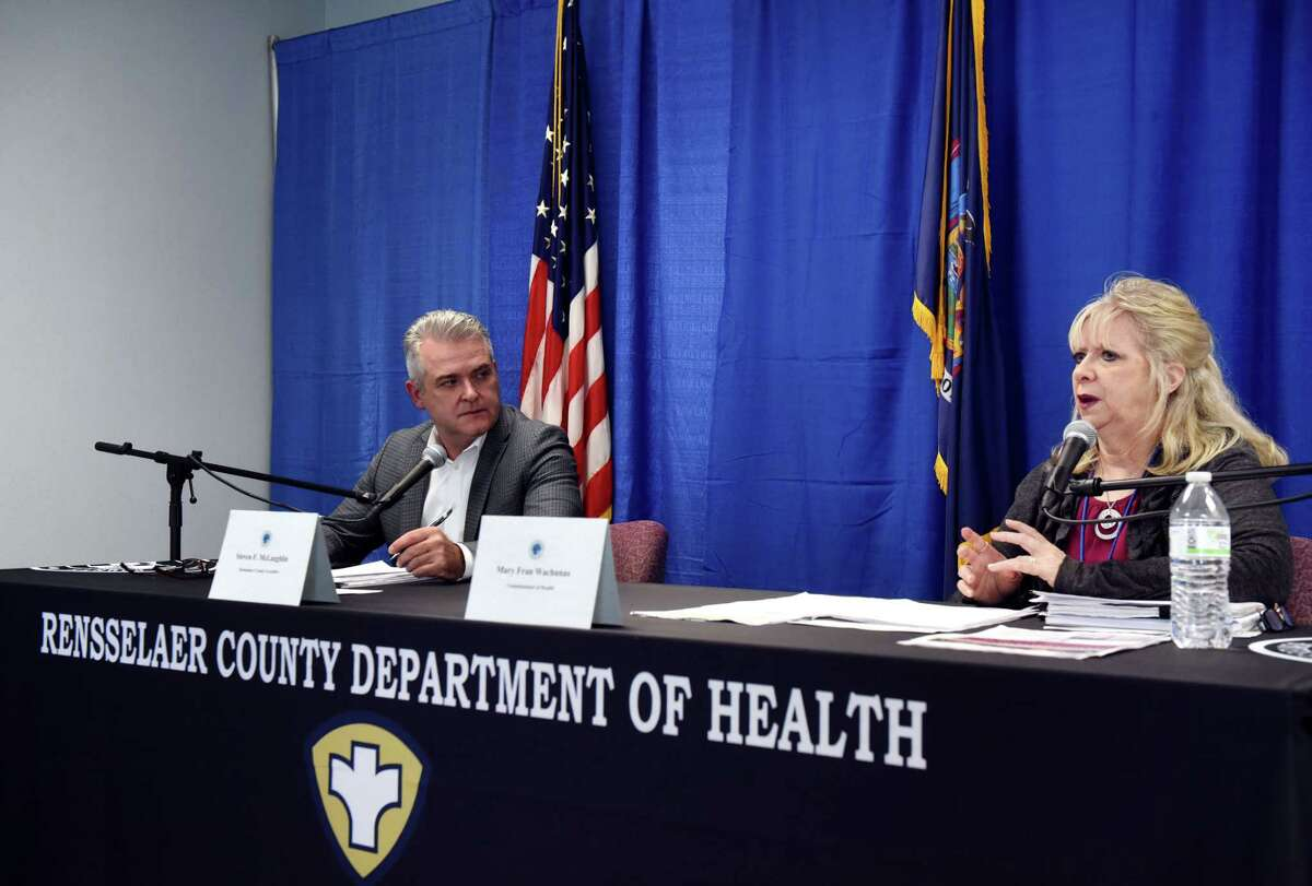 Rensselaer County Executive Steve McLaughlin, left, and Public Health Director Mary Fran Wachunas, right, deliver an update on the county's coronavirus ongoing coronavirus response on Thursday, April 16, 2020, at the Rensselaer County Office Building in Troy, N.Y. (Will Waldron/Times Union)