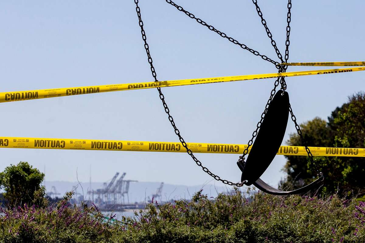 A playground is seen wrapped in caution tape and closed to public use at the Berkeley Marina. Gov. Gavin Newsom said California could be days away from loosening parts of its stay-at-home order to fight the spread of the coronavirus.