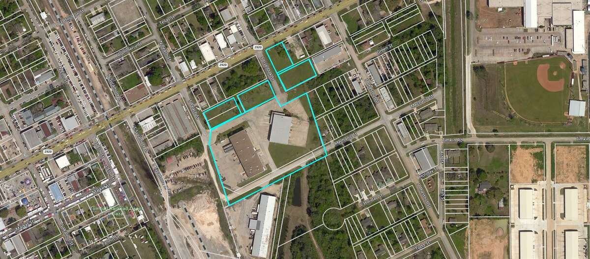 The property purchased by the Tomball Economic Development Corporation, where they plan to create a mixed-use development.