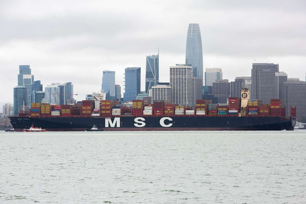The MSC Anna arrives to the San Francisco Bay as it makes its way to the Port of Oakland on Thursday, April 16, 2020, in San Francisco, Calif.