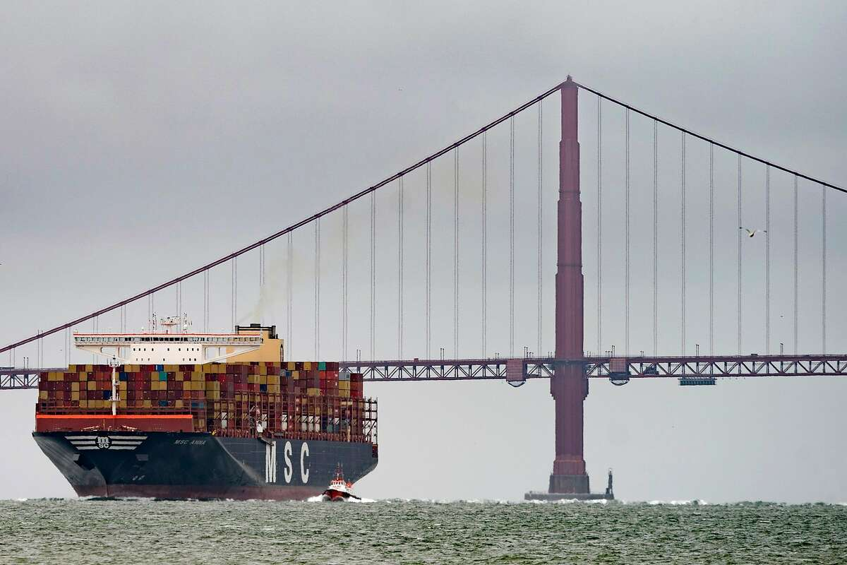 The MSC Anna arrives to the San Francisco Bay after passing under the Golden Gate Bridge as it makes its way to the Port of Oakland on Thursday, April 16, 2020.