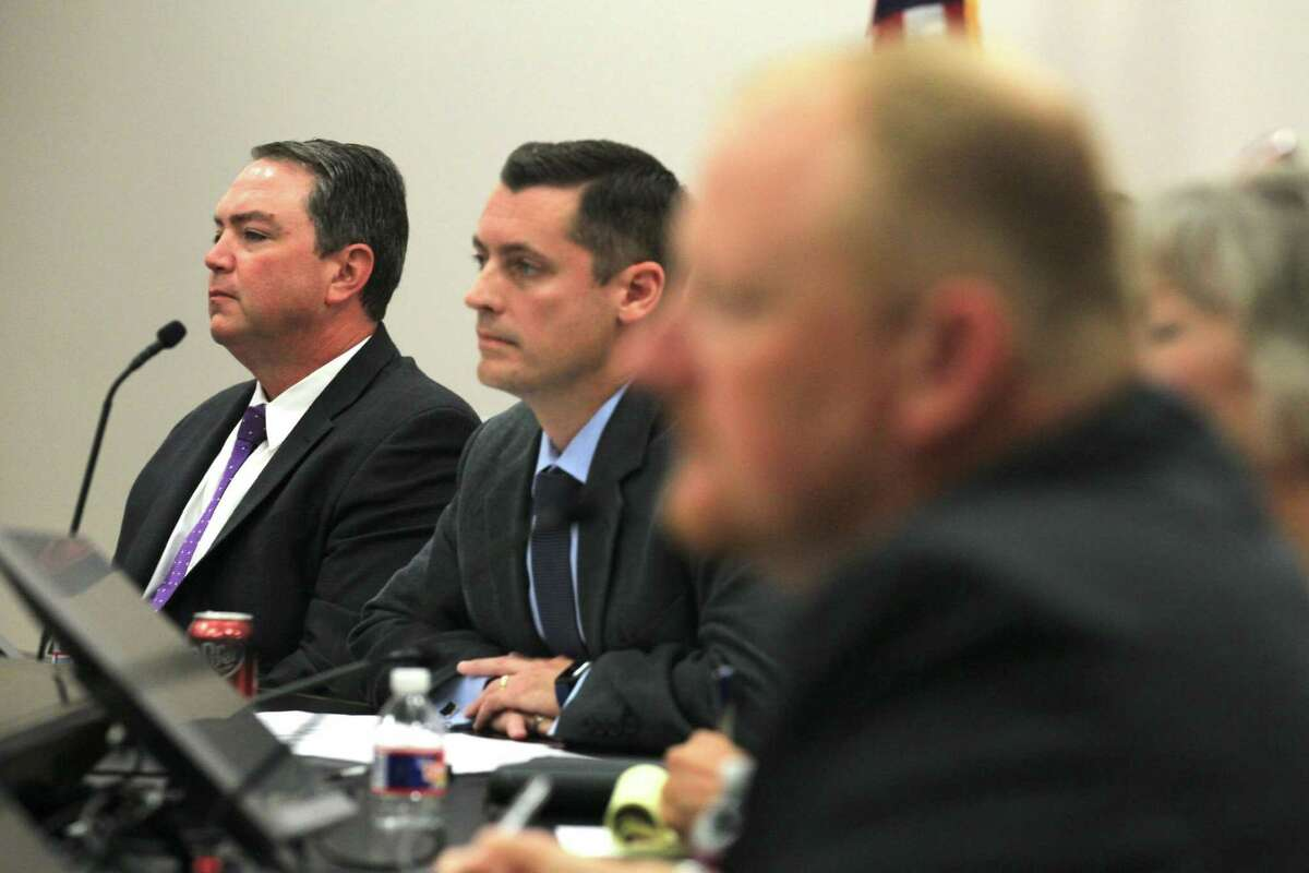 Montgomery ISD Superintendent Beau Rees, left, listens alongside Jim Dossey, president of the Montgomery ISD Board of Trustees, during a previous meeting at the MISD Education Support Center, Friday, Oct. 11, 2019, in Montgomery. The school board met virtually this week to discuss the search for a new superintendent.