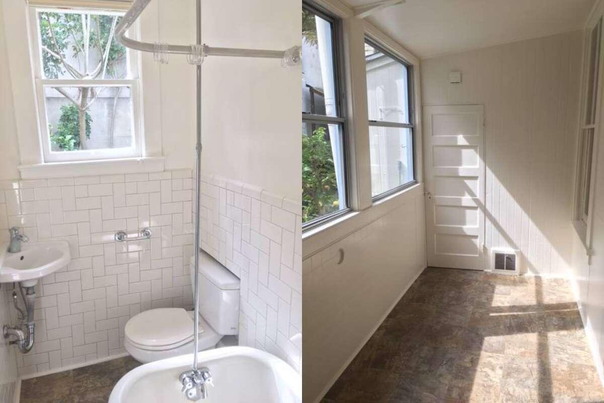 The bathroom has subway tile and a clawfoot tub.
