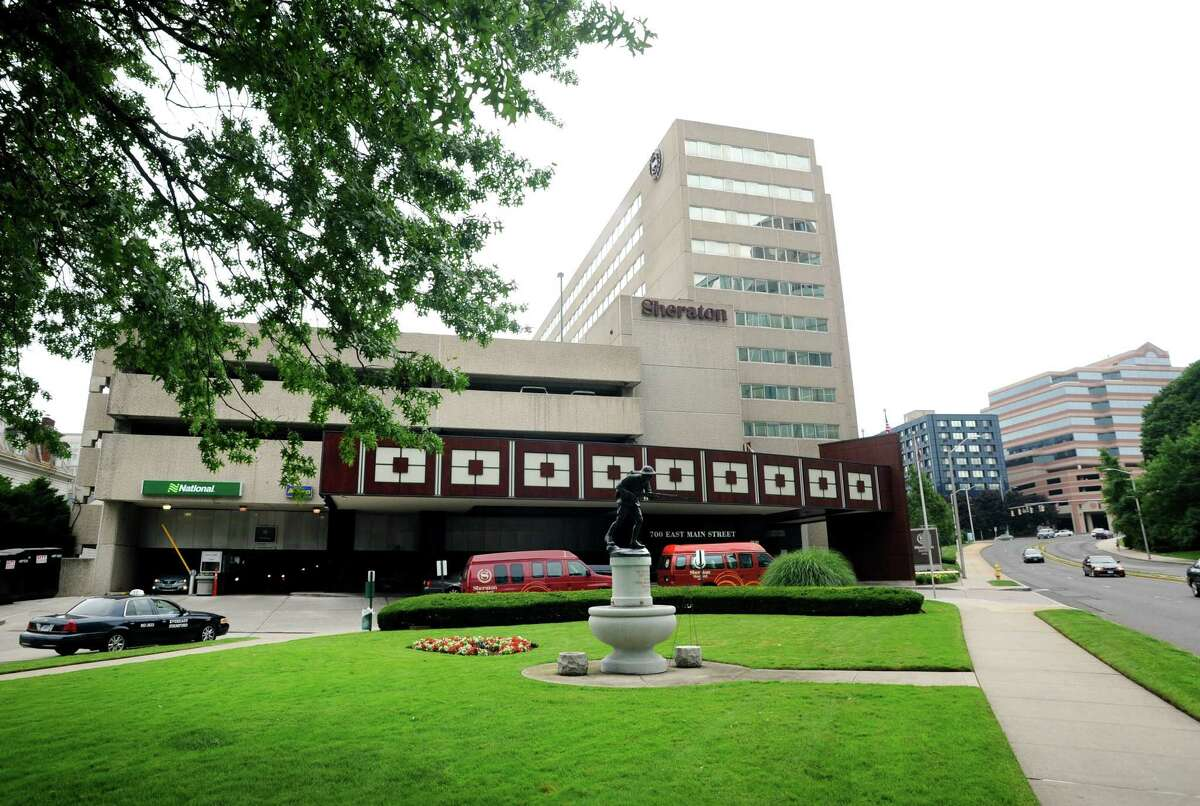 The Sheraton hotel at 700 E. Main St., in Stamford, Conn., announced that it was cutting 103 jobs in response to the coronavirus crisis.
