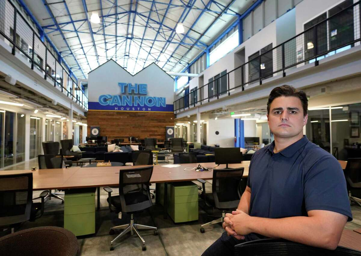 Lawson Gow, founder of The Cannon, 1334 Brittmoore Rd., a startup accelerator, is shown Thursday, April 16, 2020, in Houston. Accelerators are shut down with the stay-at-home order amid the COVID-19 pandemic.