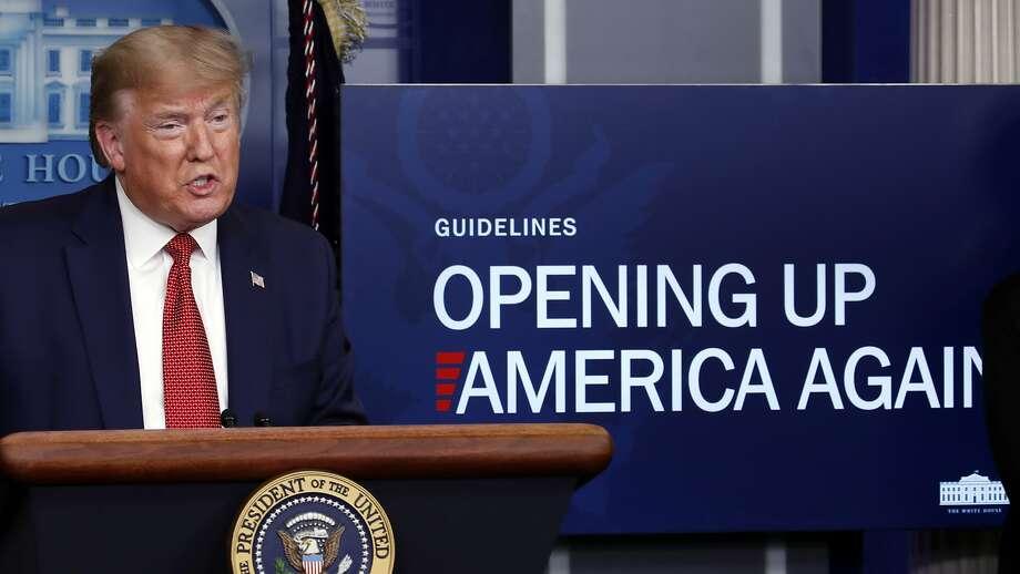 President Donald Trump speaks about the coronavirus in the James Brady Press Briefing Room of the White House, Thursday, April 16, 2020, in Washington. (AP Photo/Alex Brandon) Photo: Alex Brandon, Associated Press