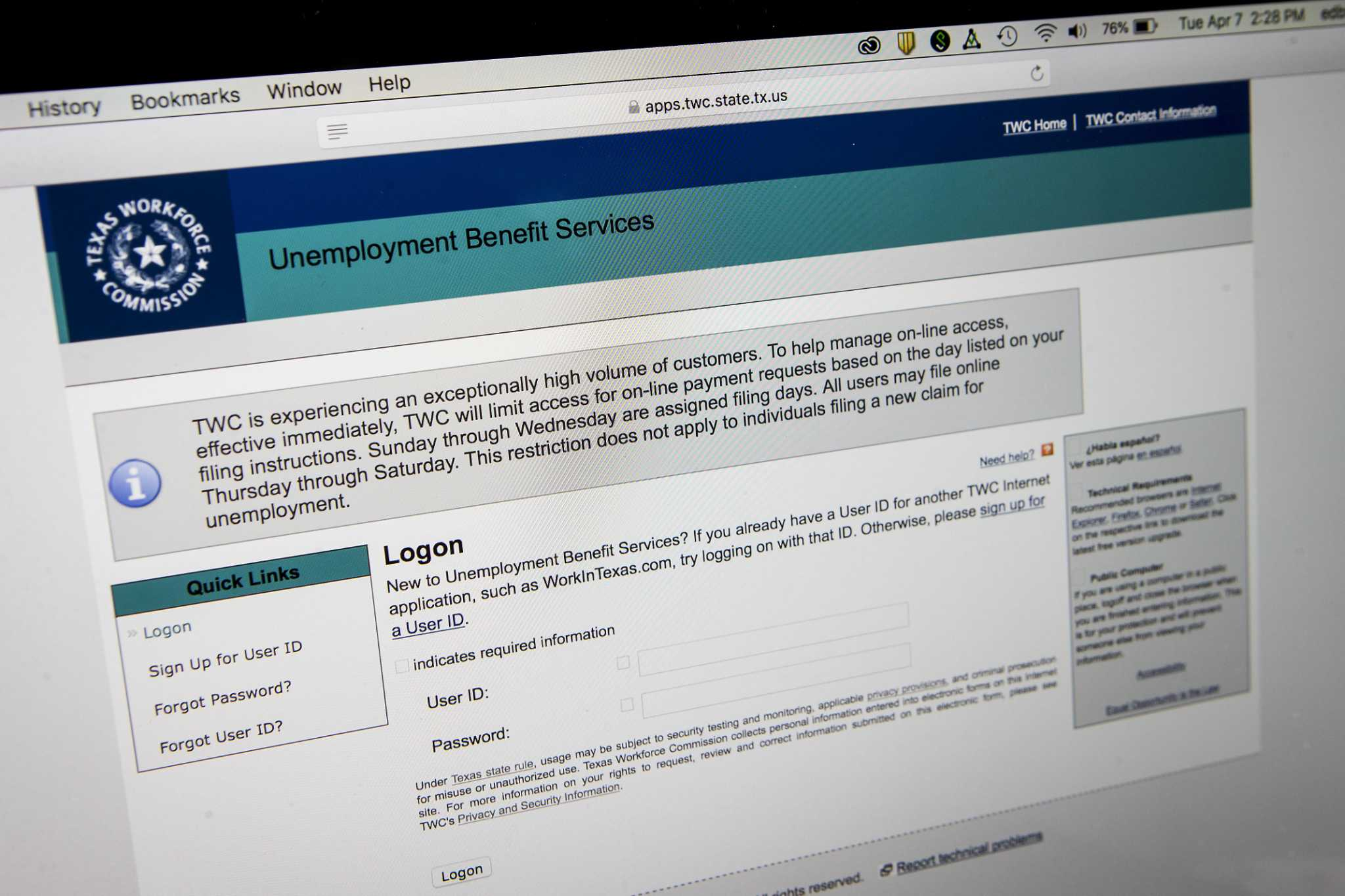 Texas unemployment claims tick up, benefits extended thumbnail