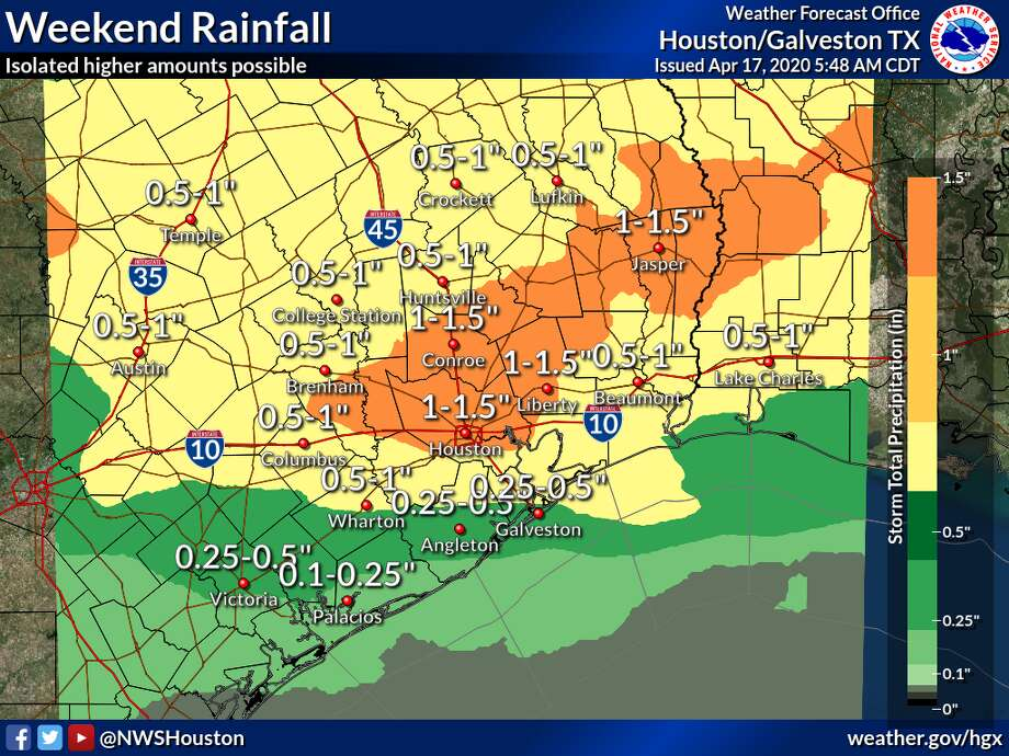 The National Weather Service predicts showers and possibly severe thunderstorms on the weekend of Saturday, April 18, 2020. Photo: National Weather Service