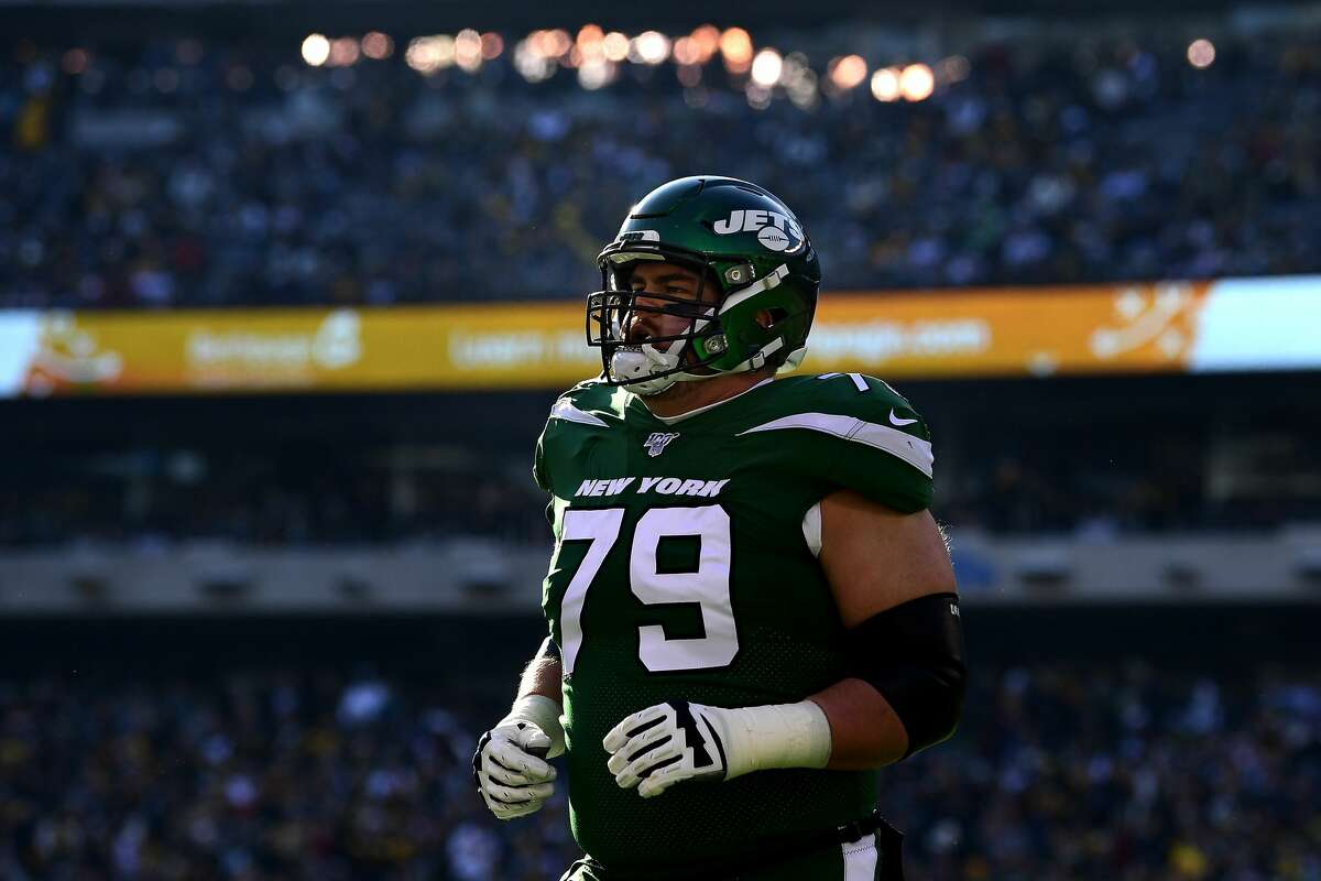 EAST RUTHERFORD, NEW JERSEY - DECEMBER 22: Brent Qvale #79 of the New York Jets looks on against the Pittsburgh Steelers at MetLife Stadium on December 22, 2019 in East Rutherford, New Jersey. (Photo by Steven Ryan/Getty Images)