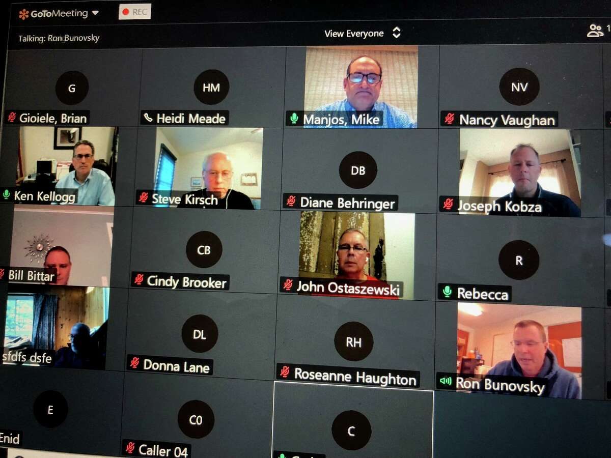 The Monroe Board of Finance during its virtual meeting Thursday, April 16.