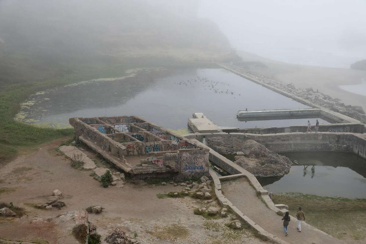 """View of Sutro Baths where music duo guitarist Travis Andrews and percussionist Andy Meyerson of The Living Earth Show will celebrate their 10th anniversary with the premiere of """"Tremble Staves� seen on Tuesday, Oct. 8, 2019, in San Francisco, Calif."""