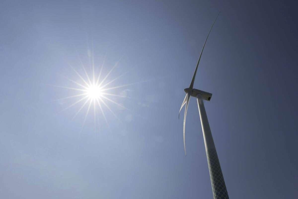 A wind turbine operates at the Yokohama City Wind Power Plant in Yokohama, Japan.