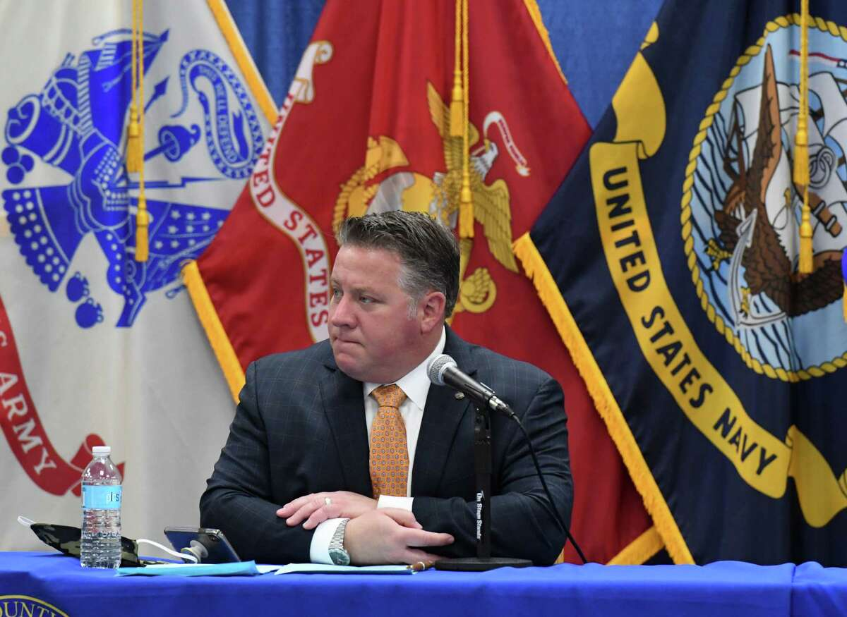 Albany County Executive Daniel P. McCoy addresses the media during his daily coronavirus news briefing on Friday, April 17, 2020, at the county offices in Albany, N.Y. (Will Waldron/Times Union)