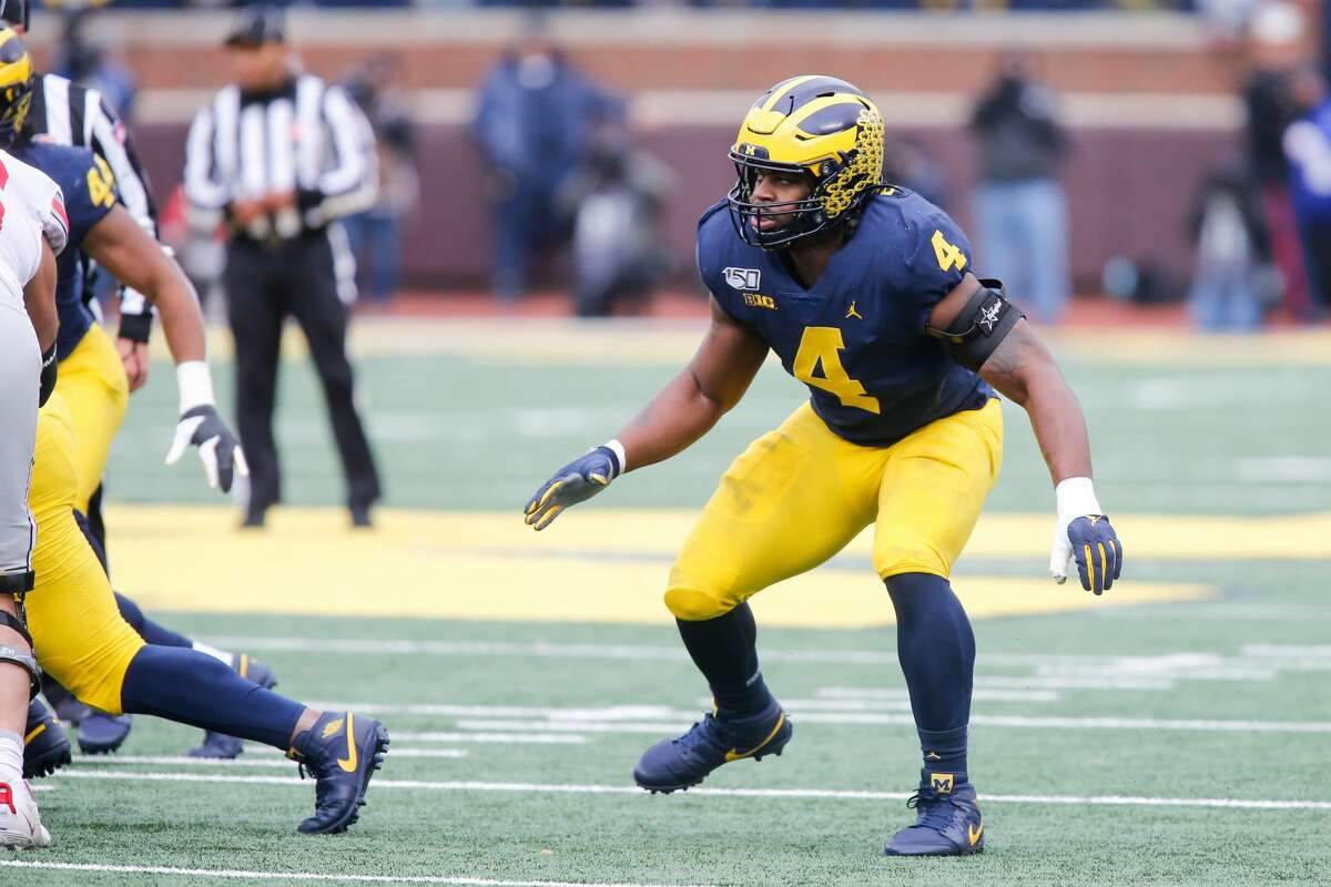ANN ARBOR, MI - NOVEMBER 30: Michigan Wolverines defensive lineman Michael Danna (4) plays defense during a regular season Big 10 Conference game between the Ohio State Buckeyes (2) and the Michigan Wolverines (10) on November 30, 2019 at Michigan Stadium in Ann Arbor, Michigan. (Photo by Scott W. Grau/Icon Sportswire via Getty Images)