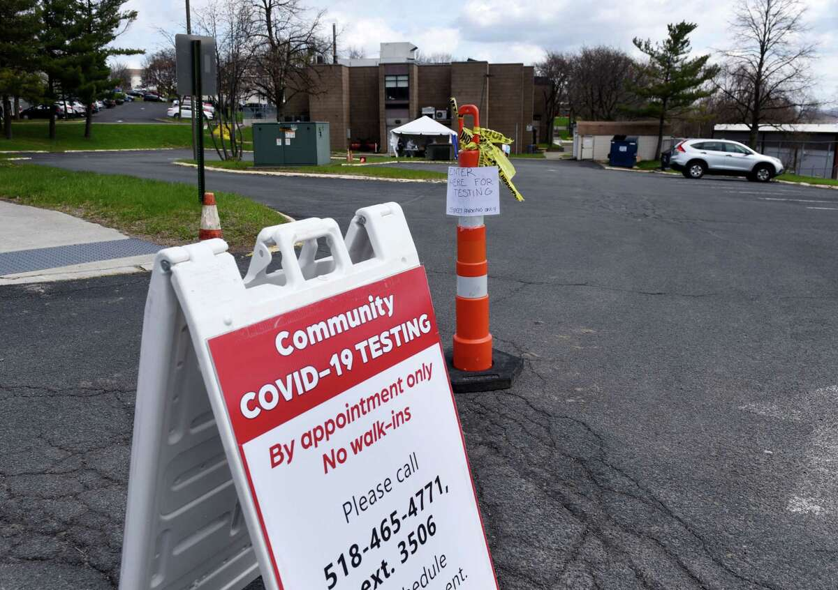 A walk-up coronavirus testing site was on Friday morning, April 17, 2020, outside the Whitney Young Health Center in Albany, N.Y. (Will Waldron/Times Union)