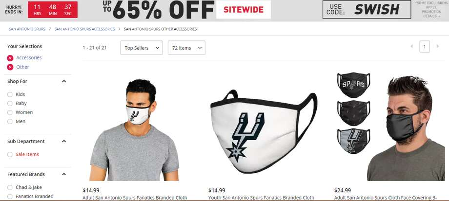 """The Fanatics-branded product is listed under """"accessories"""" in the Spurs store and range from $14.99 to $24.99. The shop is currently taking pre-sales. Spurs fans in San Antonio will need them -- or some sort of face covering -- starting Monday, following an addendum to the city's emergency order which requires residents 10 and older to wear a cloth mask, scarf, bandanna or other similar item over the nose and mouth in public places where it is difficult to stay six feet away from others during the coronavirus pandemic. Photo: Screenshot"""