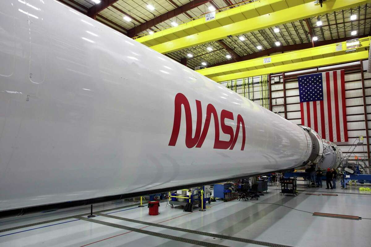 """Pictured is """"the worm"""" logo revived for the Falcon 9 rocket and Crew Dragon spacecraft that are scheduled to launch Wednesday, May 27, 2020, at 3:33 p.m. CDT."""