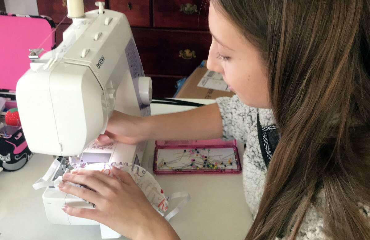 Grace DeDonato, of Shelton, has sewn hundreds of protective face masks and donated them to a local hospitals and medical facilities.