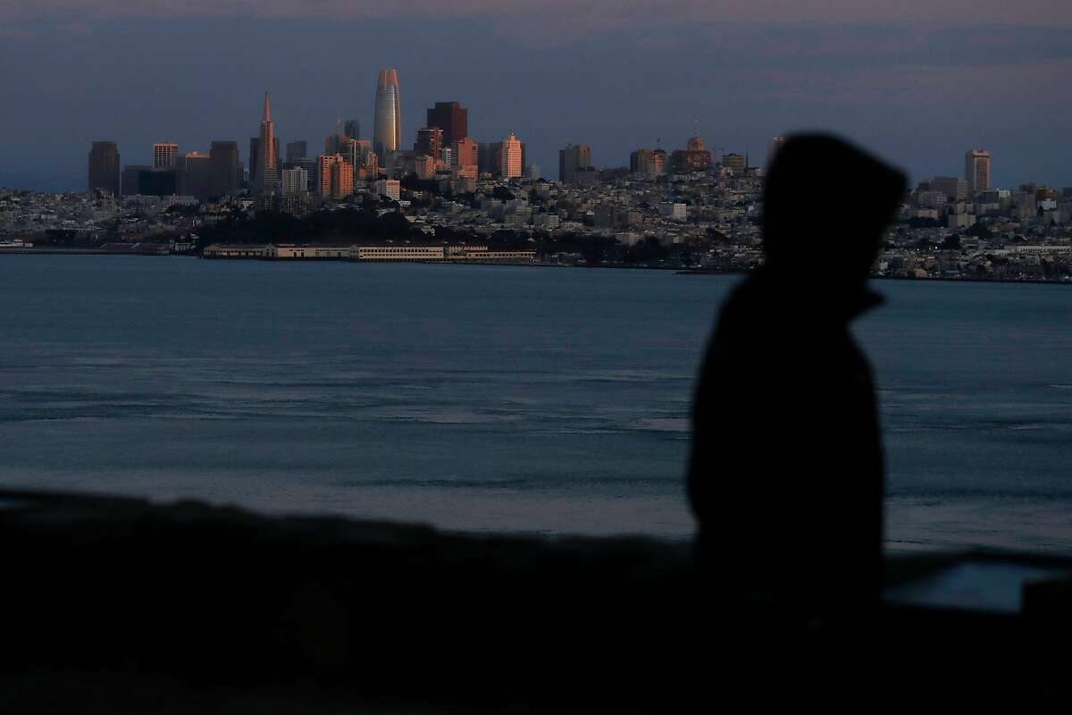 The North Vista Point is sparsely populated during coronavirus shelter in place in Sausalito, Calif., on Thursday, March 19, 2020.