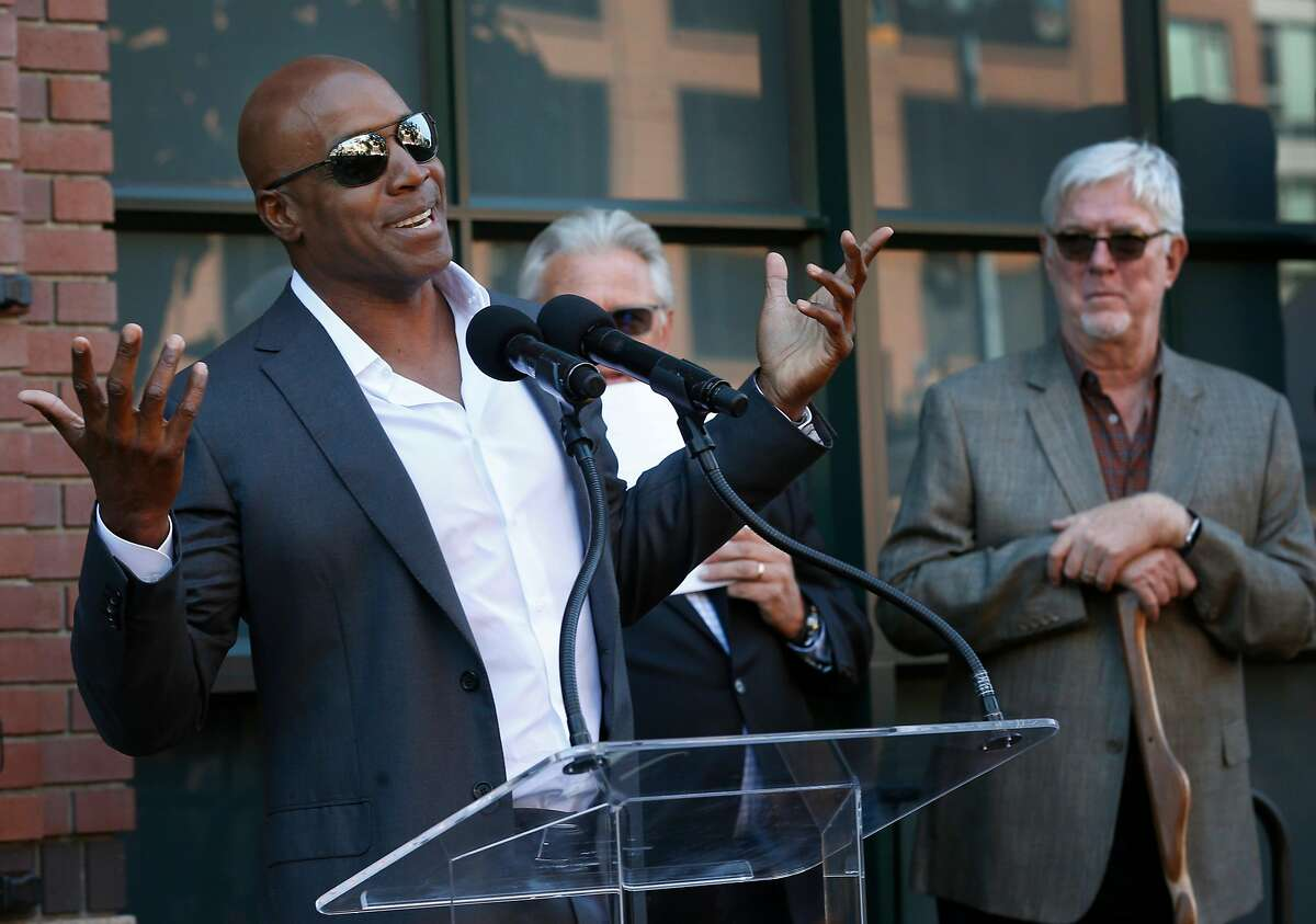 Barry Bonds speaks during an induction ceremony for the late Giants president and managing general partner Peter Magowan on the team's Wall of Fame at Oracle Park in San Francisco, Calif. on Saturday, Sept. 28, 2019. Magowan joins the 52 retired Giants players enshrined on the tribute wall that he founded in 2008.
