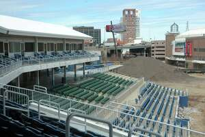 The former Harbor Yard baseball stadium is currently being renovated into the new Harbor Yard Amphitheater, a concert venue in Bridgeport.