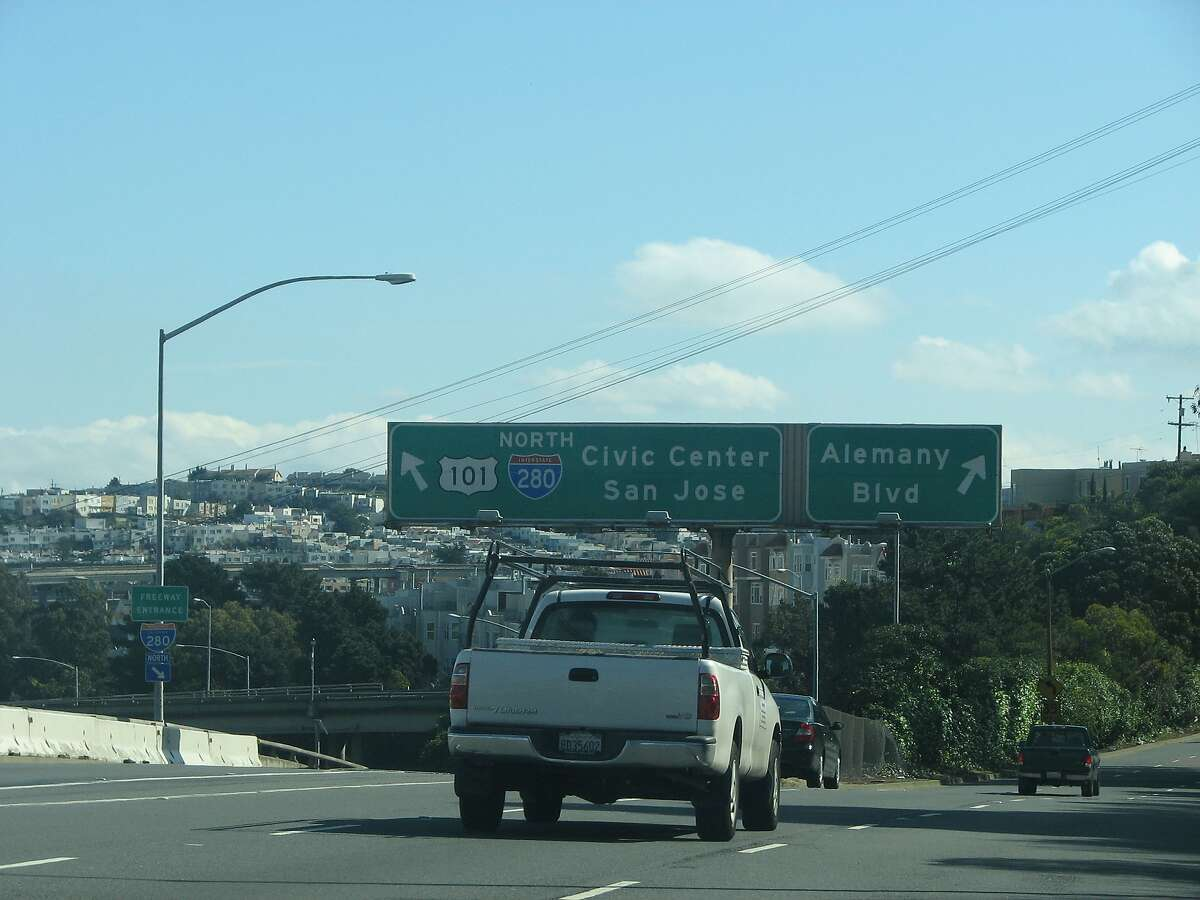 Interstate 280 in San Francisco, near the northbound lane that connects from Alemany Boulevard