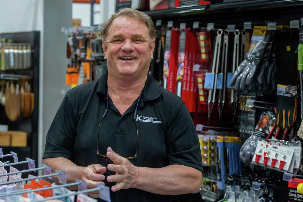 Terry Woodard jokes about his plans as he stands in one of the aisles of the new location of his Kommercial Kitchens Restaurant Supply at 2520 Interstate 10 East in Beaumont. Photo made on April 15, 2020. Fran Ruchalski/The Enterprise