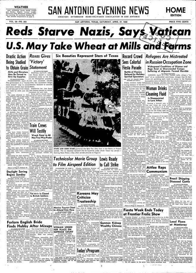 Front page of the San Antonio Express-New Evening News on April 27, 1946. Photo: EXPRESS-NEWS FILE PHOTO
