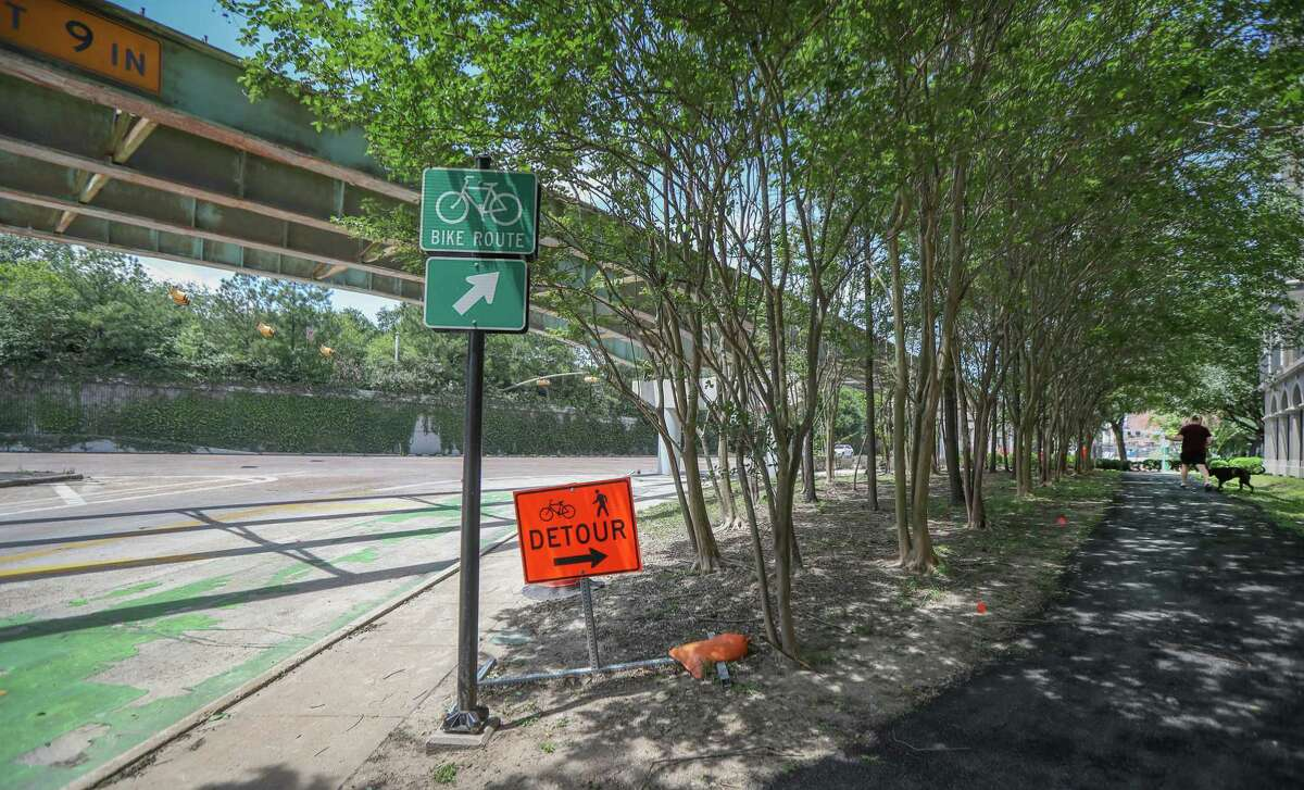 Bicyclists have long said the intersection of Holman, Hawthorne and Smith, located below the bridge from Bagby and Brazos to Spur 527, seen April 15, 2020, is among the most dangerous and in need of improvement.